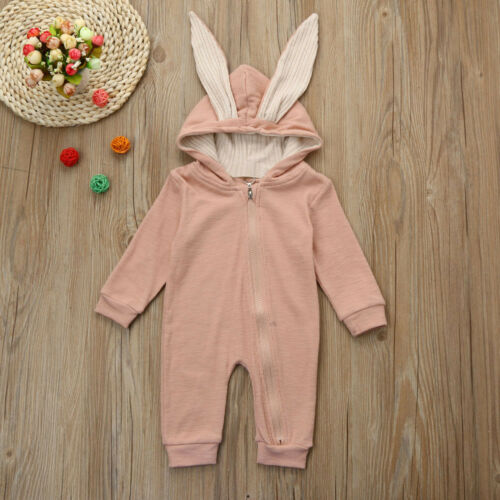 Toddler Baby Hooded Cute Rabbit Ear Warm Romper  Girls Boys Jumpsuit Outfits L