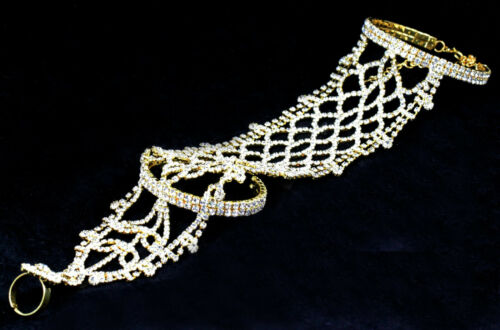 Long Slave Glove Austrian Rhinestone Crystal Bracelet W// Ring Bangle B88g Gold