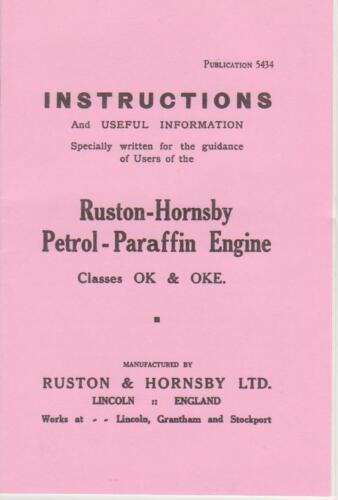 Ruston Hornsby Ok Libro De Instrucciones-Con WICO EK Magneto