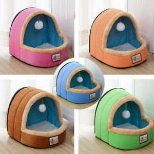Pet-Cat-Kitten-Soft-Plush-Igloo-Bed-Warm-Cave-House-Mat-Snug-Cute-Fleece-Ball