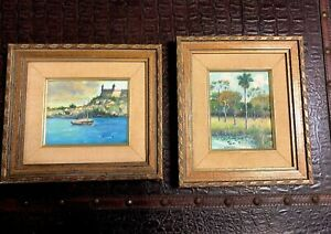 VTG-70-039-s-2-PAINTINGS-ON-WOOD-MEDIEVAL-SPANISH-CASTLE-amp-Foliage-BY-R-GARCIA-8-X-9