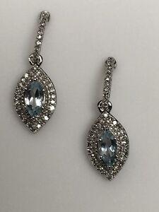 7d063b2b0b45 La imagen se está cargando 10k-Oro-Blanco-Marquesita-Forma-Aguamarina-y- Diamante-