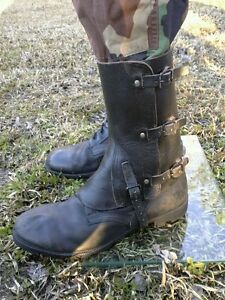 Swiss Army Surplus Black Leather Gaiters Camping