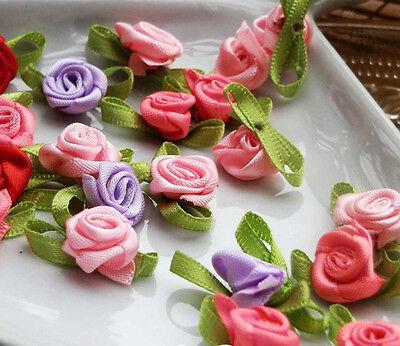 100 pcs DIY Ribbon Rose Wedding Flower Satin Decor Appliques Craft Sewing Leaves