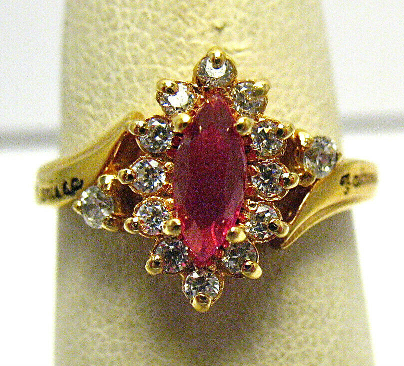 gold FAIRVIEW HIGH SCHOOL RING SIZE 6 RED CLEAR STONE 1999  MARISSA  SYBOLL