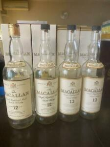 Macallan-12-Years-Old-Vintage-Scotch-Whiskey-4-Empty-Bottle-Set-Old-Label