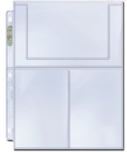 10-x-ULTRA-PRO-3-POCKET-4-x-6-PLATINUM-SLEEVES-PAGES-for-Postcards-Photos-Cards