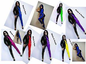 26ae649474e PVC CATSUIT Jumpsuit Black White Red Blue Purple Yellow 6-16 UK New ...
