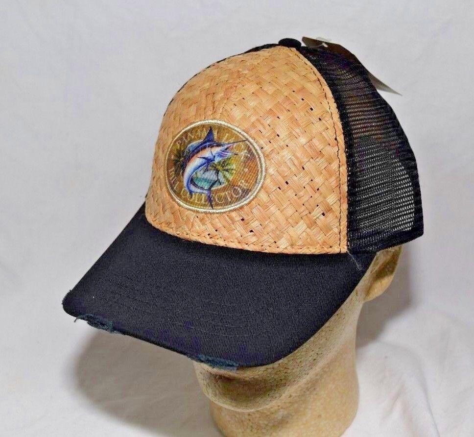 Panama Jack Logo Baseball Straw Cap Hat Woven Tan Straw Baseball Plus Black Mesh Sides & Back 3d2042