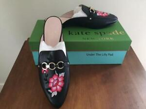 4c5a26730794 NIB  258 KATE SPADE Mules CANYON Sz 7 M BLACK LEATHER Shoes New SALE ...