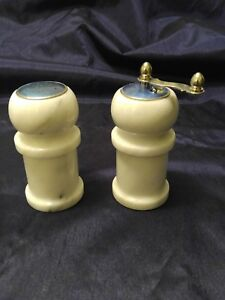 Vintage 60 S Authentic Marble Salt Shaker And Pepper