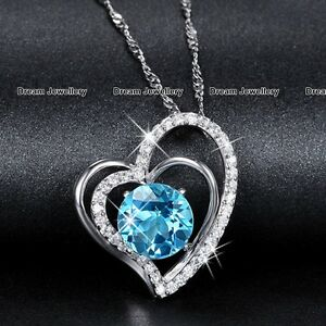 BLACK-FRIDAY-DEAL-Silver-Heart-Necklace-Blue-Diamond-Xmas-Gifts-for-Her-Women-X