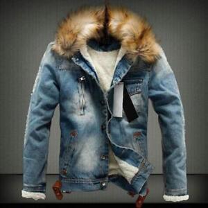 26d22f4902518 New White Mens Fur Lined collar Thermal jean Jacket Vintage Denim ...
