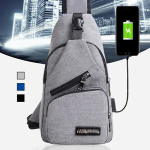 Sac-a-Dos-Bandouliere-Homme-USB-Chargeur-Port-Backpack-Poitrine-Voyage-Etanche