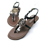 Womens Thin Straps T-Strap Thongs Buckle Slingback Flat Sandals Flip Flops Shoes