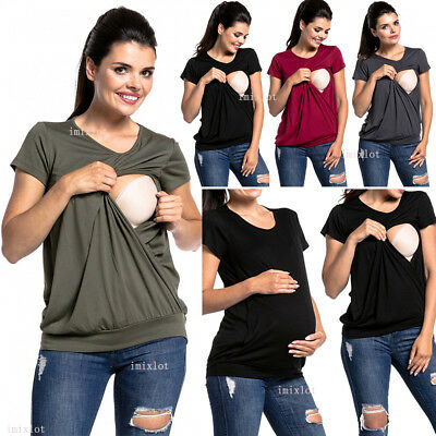 Pregnant Womens Summer Nursing Tops Maternity Breastfeeding Tunic Blouse T-Shirt