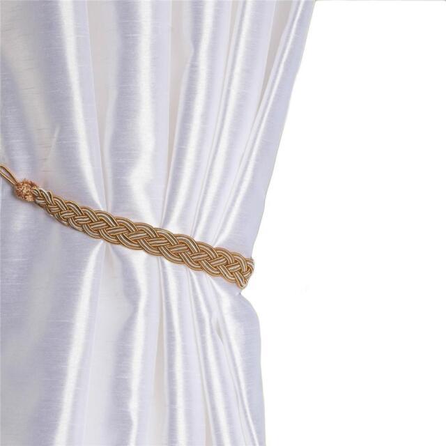 2pcs Braided Satin Rope Curtain Hand