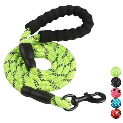 5FT Heavy Duty Large Reflective Dog Rope Training Nylon Lead Training Leash