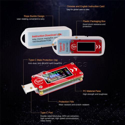 """0.96/"""" TC64 Type-C USB écran LCD Voltmètre ampèremètre Voltage Current Power Meter"""
