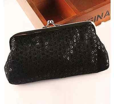 Tasche Geldbörse Clutch silber bunt Tasche mini Pailletten Kosmetiktasche klein