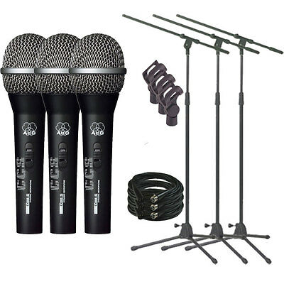 AKG D88 S/XLR Dynamic Handheld Vocal Microphone 3 Pack w/ Stands and Cables