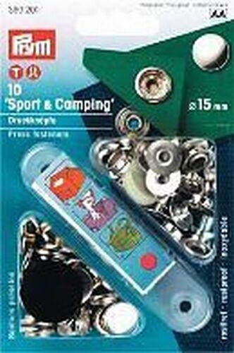 PRYM 10 Druckknöpfe Sport+Camping 15mm silberfarbig 390201