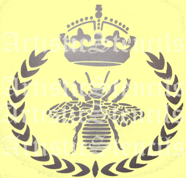 STENCIL French Queen Bee Wreath With Royal Crown 8x8