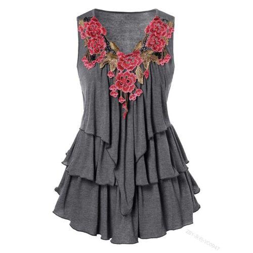 Damen Sommer Boho Blumen Tunika Casual Lose Tanktop Ärmellos Rüsche Bluse Shirts
