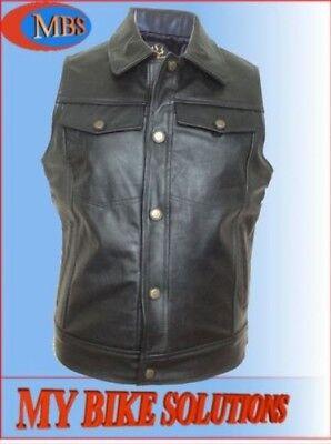 cuir vachette moto motard gilet sans manche sans manche veste | eBay