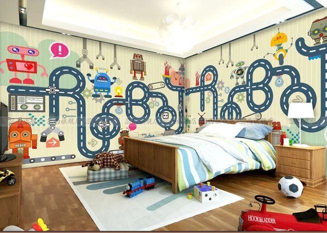 3D Friendly Robots Kingdom Wallpaper Decal Decor Home Kids Nursery Mural  Home