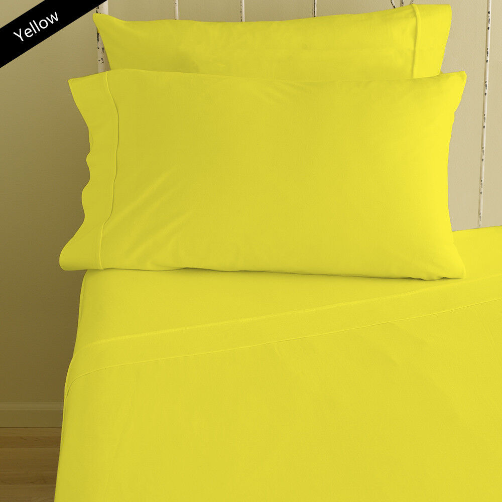 Complete Bedding Set Yellow Solid Choose Sizes 1000 Thread Count Egyptian Cotton