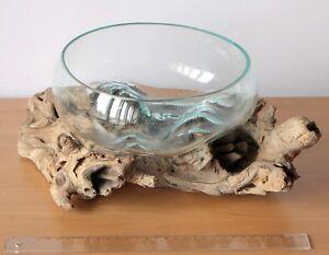 deko gamal wurzelholz glas 20 22 cm b ware wurzel holz teakholz vase schale l ebay. Black Bedroom Furniture Sets. Home Design Ideas