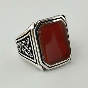 Turkish Ottoman Red Agate Gemstone 925 Sterling Silver Mens Ring Gemstone