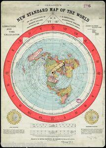 Gleason-039-s-New-Standard-Map-of-the-World-Flat-Earth-circa-1892-30x40-VINYL