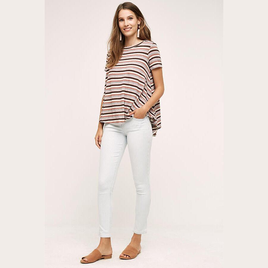 Anthropologie Level 99 Womens Jeans 30   10 Liza Low Rise Skinny Aurora Stripe