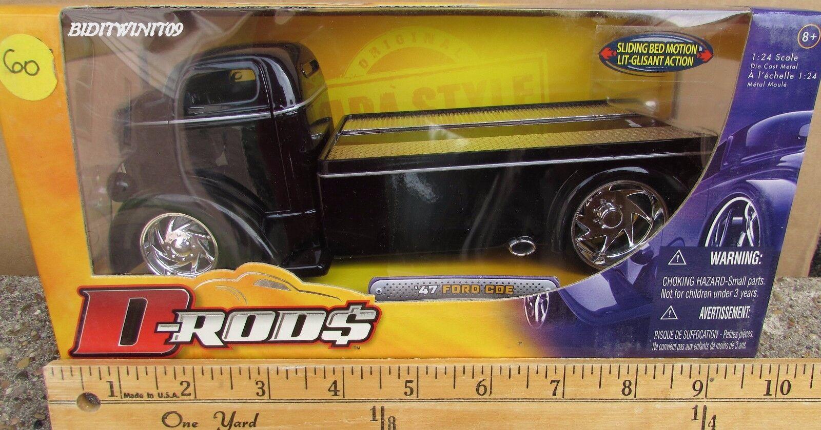 buena reputación Jada-D Varillas'47 Ford cabina sobre sobre sobre motor Cama Deslizante 1 24 Negro Remolque Camión W +  entrega de rayos