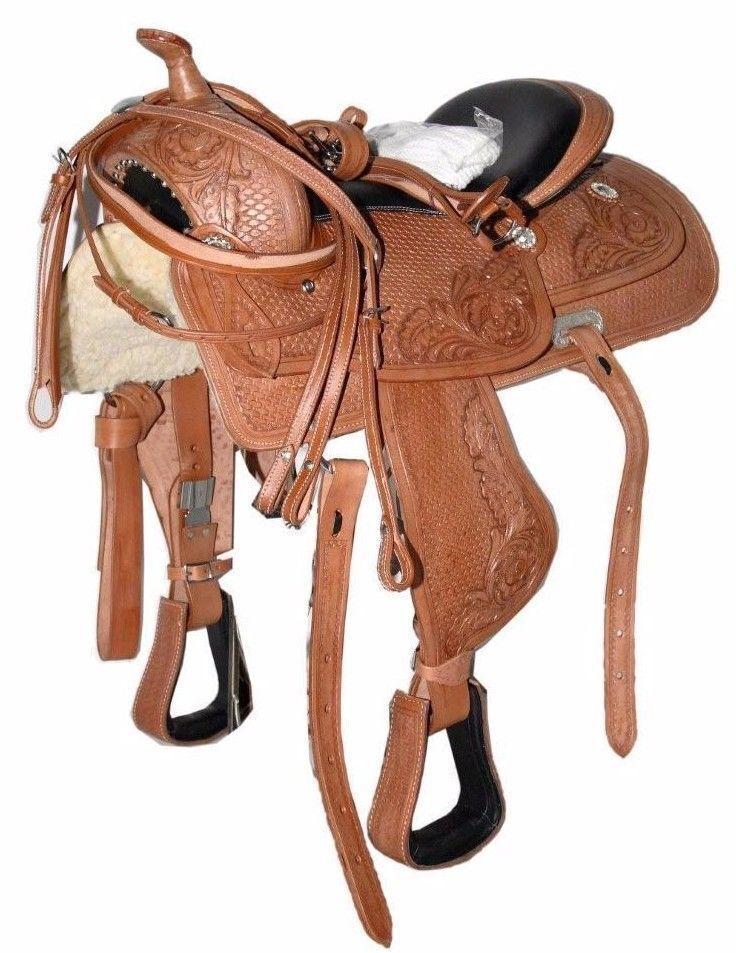 Nuevo Western de cuero silla de montar caballo amarrar Rancho paseo con Kit de envío gratuito.