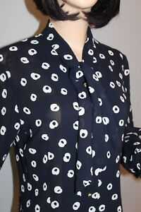 80er-80s-Vintage-Shirt-Bluse-SCHLUPPENBLUSE-S-36-38-true-VTG-TIE-NECK-BLOUSE
