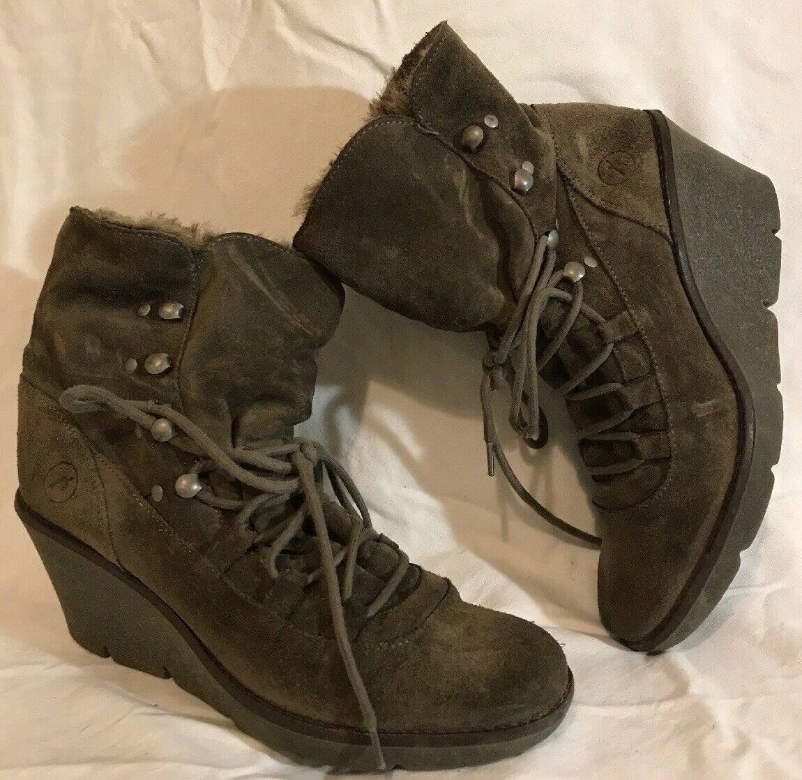 Bronx Brown Ankle Suede Boots Size 39 (858vv)
