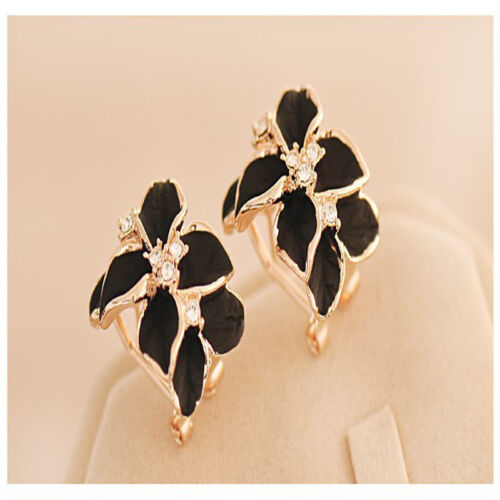 Women/'s Gardenia Flower Crystal Ear Studs Rhinestone Earrings Hoop Buckle Sale