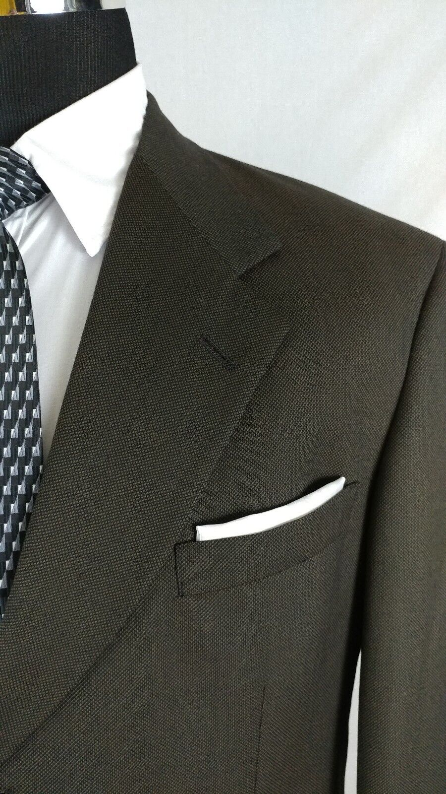 Bespoke Hart Schaffner Marx gold Trump Men 2Button Suit Birdseye Brown 42L 36x31