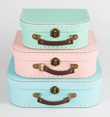 Set of 3 Retro Suitcases Storage Pastel Colours Pink Green Blue Sass & Belle