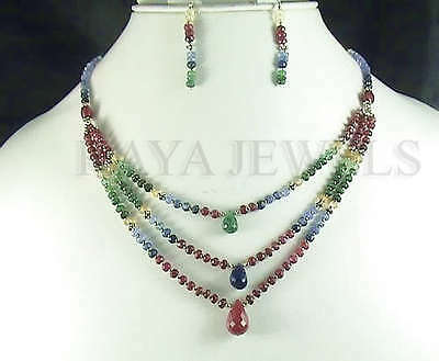 DESIGNER NATURAL 129Ct RUBY EMERALD SAPPHIRE MULTI BEADS NECKLACE WITH EARRINGS