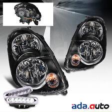 For 2003 2004 Infiniti G35 Sedan JDM Black Headlights + LED DRL Fog Lamps Combo
