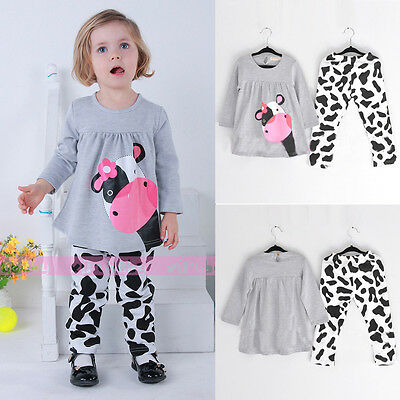 Baby Kids Girls Boys Milk Cow Pajamas Long Tops Pants Outfits Clothes Homewear