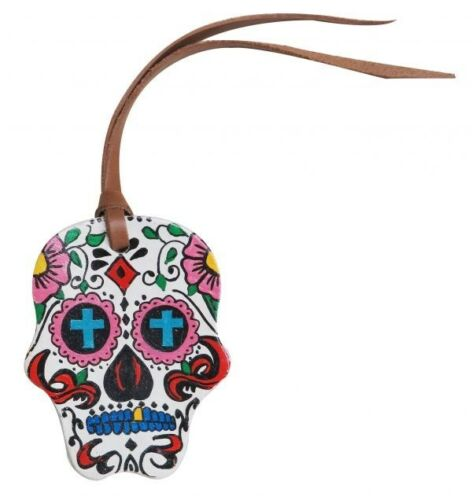 """NEW Horse Tack!!! Painted Sugar Skull Cuir Selle Cravate Sur 4/"""" X 3/""""!!"""