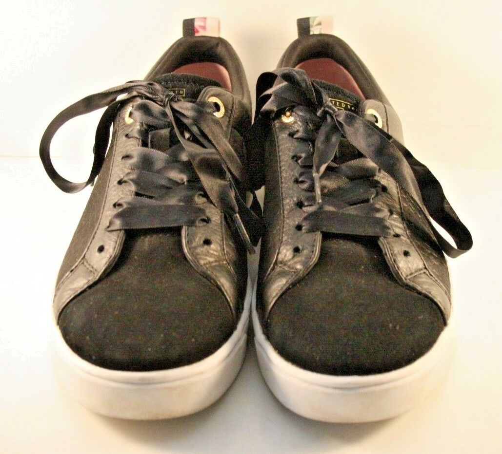 Ted Baker Black Suede & Leather Kulei Sneakers Womens Size US 8M