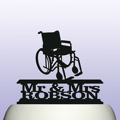 Personalised Acrylic Wheelchair Mr /& Mrs Cake Topper Decoration