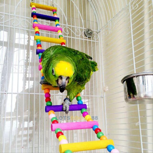 Pet Bird Wood Ladder Climb Parrot Macaw Cage Swing Shelf Parrot Bites Play Toy L