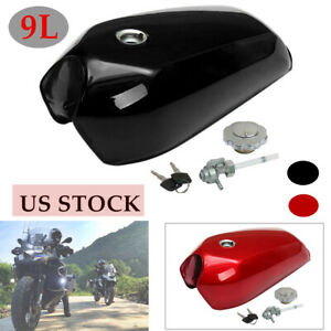 9L/2.4 Gallon Universal Motorcycle Cafe Racer Vintage Fuel Gas Tank W/Cap Switch